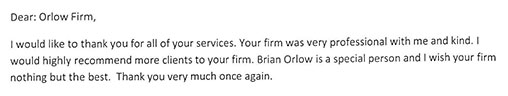 Testimonial for the Orlow Law Firm   New York Personal Injury Attorney