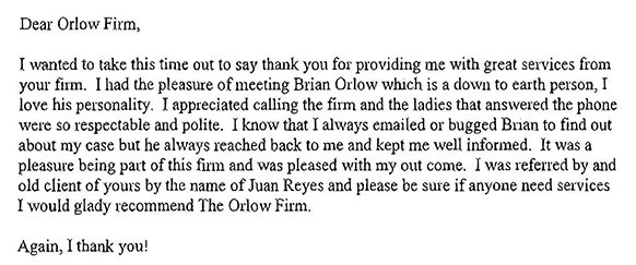 Testimonial for the Orlow Law Firm | New York Personal Injury Attorney